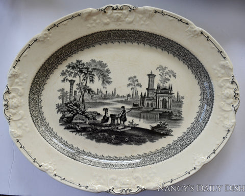 "Large 16"" Black & Cream Staffordshire Transferware Platter George Jones Marlborough Embossed Scroll Border"