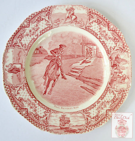 Red Colonial Times Transferware Plate Paul Revere's Ride American History Historical Staffordshire