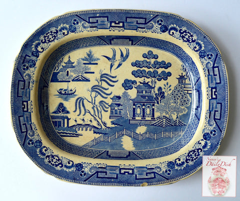 C 1869 Hulse & Adderley Blue Willow Chinoiserie Transferware Serving Platter Stone China