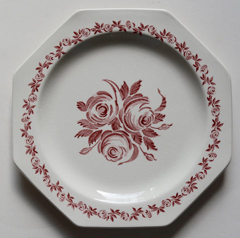 Pink / Red  Vintage English Ironstone Octagon Plate Shabby Victorian Chantilly Roses