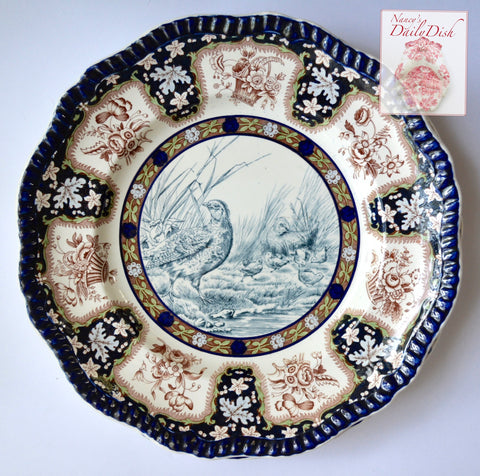 Spode No.5 Partridge Enameled Clobbered Antique Brown & Blue Bi Transferware Plate