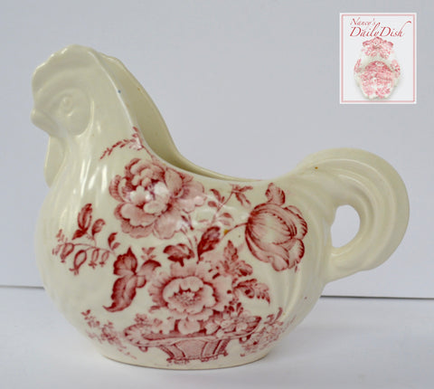 Vintage Red Transferware Chicken / Nesting Hen Shaped Pitcher Creamer Charlotte Staffordshire