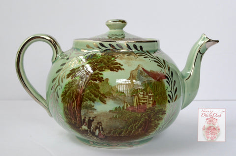 Individual Small VERY Rare Royal Staffordshire Silver Overlay Teapot Brown Transferware Rural Scenes Jenny Lind