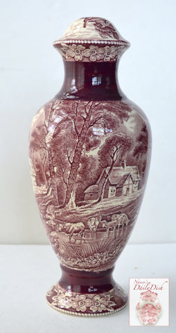 Antique English Transferware Lamp Coalport Grazing Cattle Cows Pastoral Cottage Scene - Maroon / Burgundy