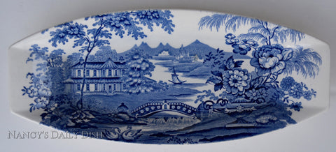 Blue English Transferware Clarice Cliff Celery Relish Tray Staffordshire Dish
