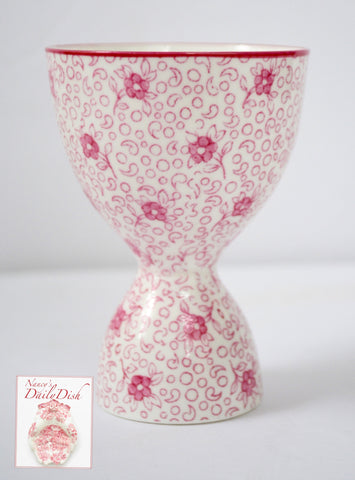 Pink Transferware Crown Staffordshire Floral Calico Chintz Sheet Pattern Double Egg Cup