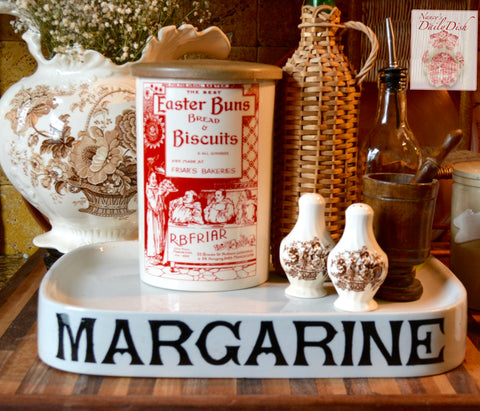 RARE Easter Biscuits & Bread Brick Red Transferware Antique Advertising English Ironstone Canister Jar Utensil Holder