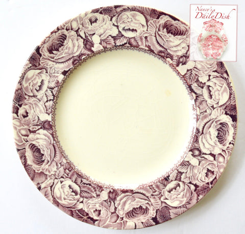 "8"" Purple Staffordshire Transferware Salad Plate Lavender June Roses Border"