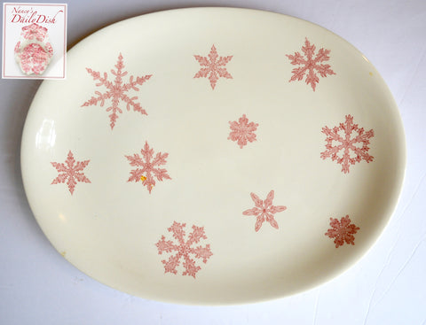 Vintage Pink Transferware Johnson Brothers Snow Crystals Snowflake Platter