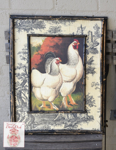 Vintage Country French Chicken Rooster Print on Board w/ Black Toile & Distressed Bamboo Frame