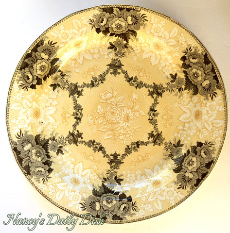 Circa 1835 Yellow Two Color Transferware Round Platter Etruscan Festoon Ridgway RARE
