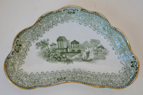 Antique Staffordshire Green Transferware Bone Dish Crescent Plate Grecian Ridgway