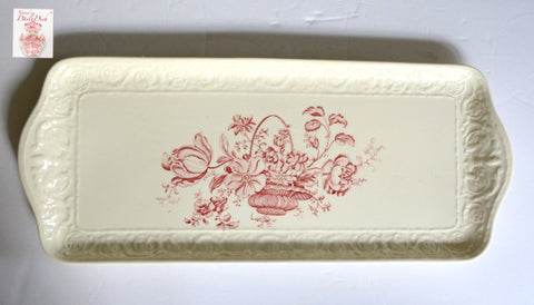 Antique Red Transferware Victorian Oblong Embossed Tray / Platter Basket of Roses Charlotte