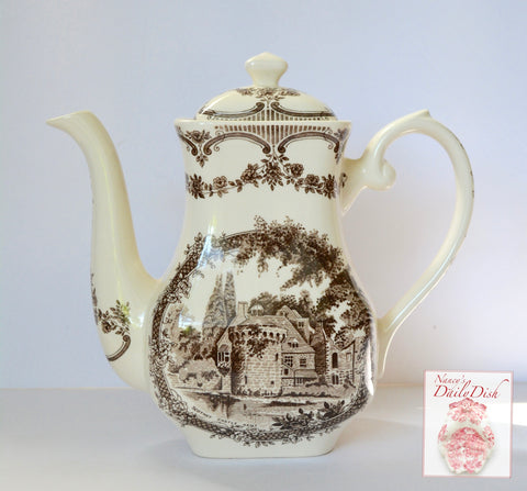Stunning Brown Transferware  Ironstone Coffee Pot Scotney Castle Kent Roses & Trellis Border