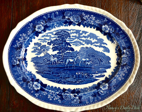 Blue Transferware Platter Grazing Horses & Foals in Meadow w/ Rose Thistle Border English Scenic