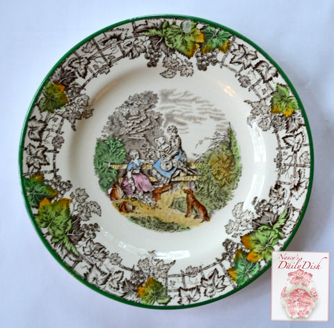 Spode Byron Green Rim Brown Transferware Plate Girls & Dog Harvest Wheat Gathering