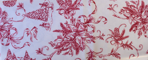 "Nicole Miller Red Toile Holly Winter Christmas Tree Poinsettia Tablecloth 60"" x 104""  New in Package"