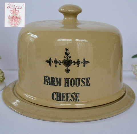 "Vintage English Black Transfer Printed "" Farm House Cheese "" Covered Cheese Dome Dish Transferware Advertising"