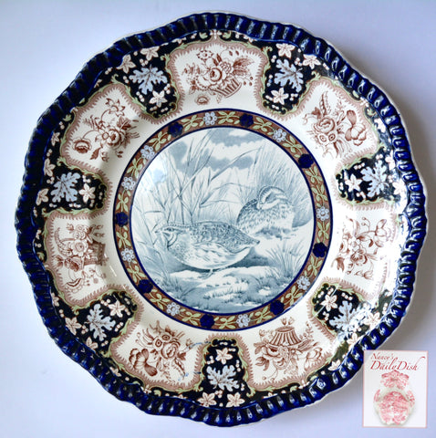 Spode Copeland Upland No. 29 Quail Enameled Clobbered Antique 2 Color Transferware Plate