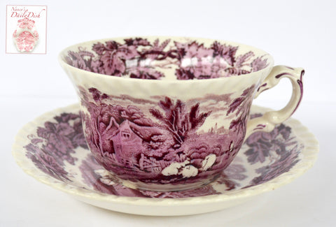 Large Purple Aubergine Transferware Breakfust Cup & Saucer Teacup Grapes Vines Grazing  Cows Cattle Cottage
