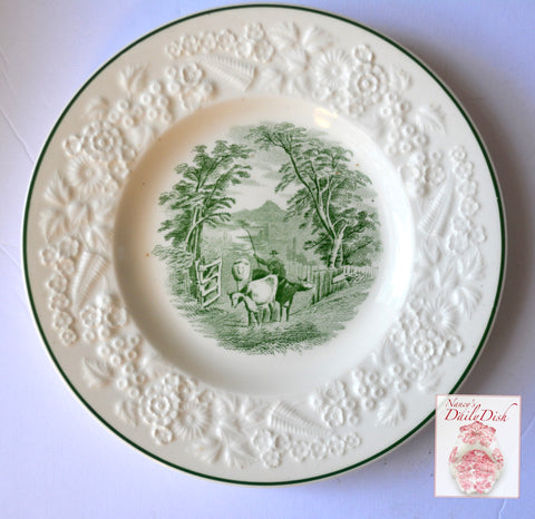 Antique Staffordshire Cattle Scene Green Transferware Plate Embossed Floral Border George Jones
