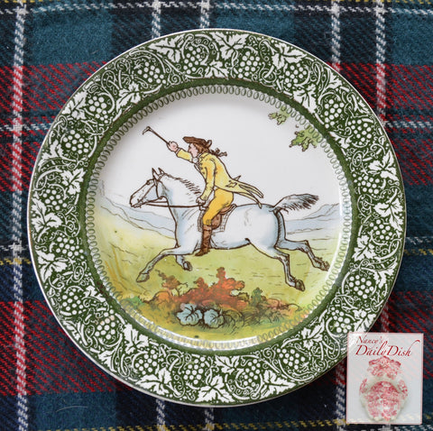 Antique Royal Doulton George Morland Plate Equestrian Horse Rider Fox Hunt Scene English Staffordshire