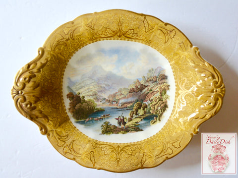 Antique Cattle Scenery Prattware MultiColor Transferware Footed Compote Plate Cherubs Border