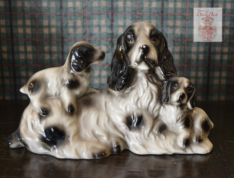 Vintage Lefton Springer Spaniel & Pups Black & White Dog Figurine - English Country Decor