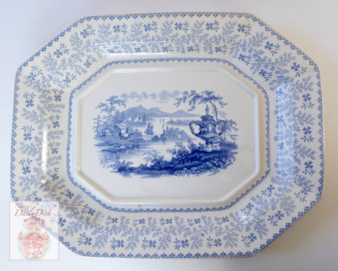 Large Antique Light Blue Transferware Platter Agricultural Vase Sheep Cattle RWM Ridgway Morley Wear