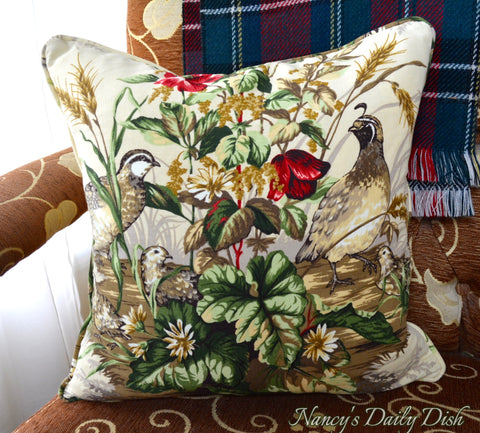 Scalamandre Edwin's Covey  Custom Hand Made 18 x 18 Pillow Cover Quail Woodland Flowers