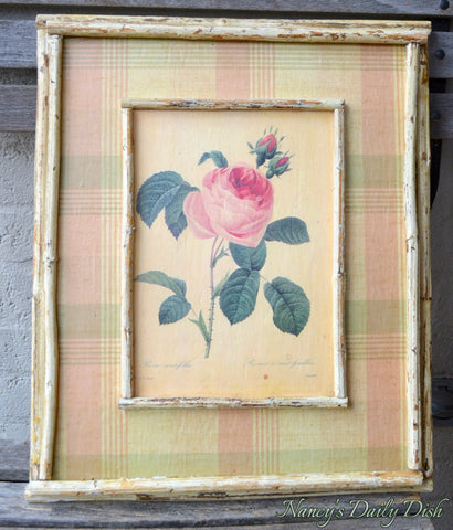 Vintage French Rose Print on Board w/ Pink Green Plaid & Distressed Bamboo Frame