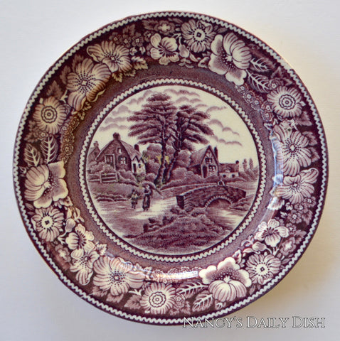 Antique Purple Transferware Side Plate  Cottage Bridge Rural England