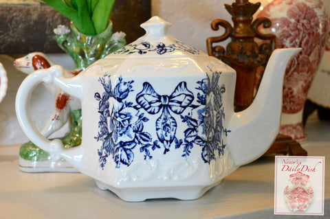Blue & White English Transferware Teapot Garland of Roses & Ribbon