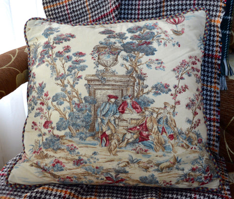 Pair of Custom Blue Pink Red Toile Pillows w/ French Pastoral Scenes & Checked Piping