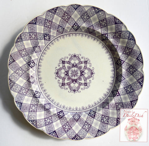 Antique Purple Transferware Plate Caledonian Tartan Plaid Staffordshire Ridgway