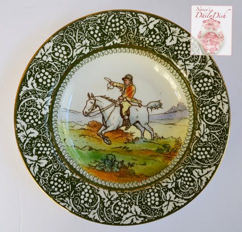 Antique Royal Doulton George Morland Deep Plate / Bowl Equestrian Horse Jockey Rider Fox Hunt Scene English Staffordshire