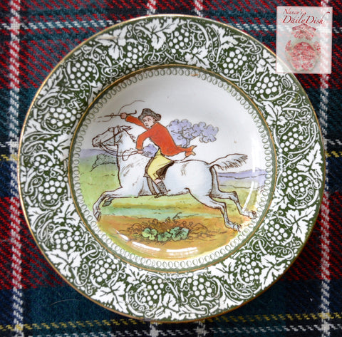 Antique Royal Doulton George Morland Deep Plate / Bowl Equestrian Rider Fox Hunt Scene English Staffordshire