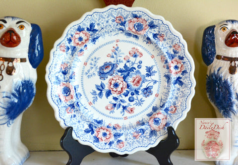 STUNNING circa 1835 Rare Blue Pink Two Color Transferware Plate New Stone China Roses