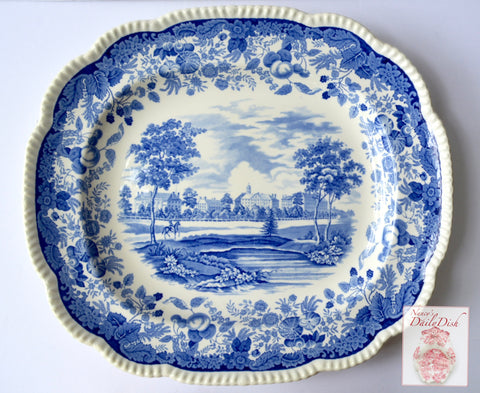 "Huge Wedgwood Harvard University 19"" Blue Platter Transferware 1941"