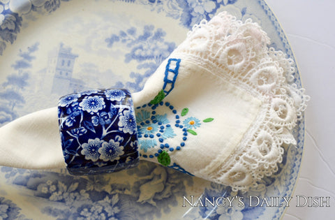 English Transferware Blue Calico Chintz Floral Napkin Ring RARE