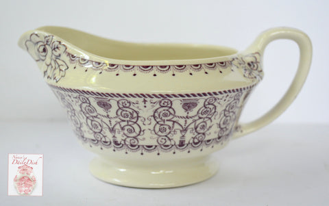 Vintage Purple TRANSFERWARE Cream Pitcher with Embossed / Raised Floral Detail Seabridge Wood Sons