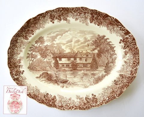 Vintage English Brown Toile Transferware Platter Cottage Boat Lake Swans Flowers Berries