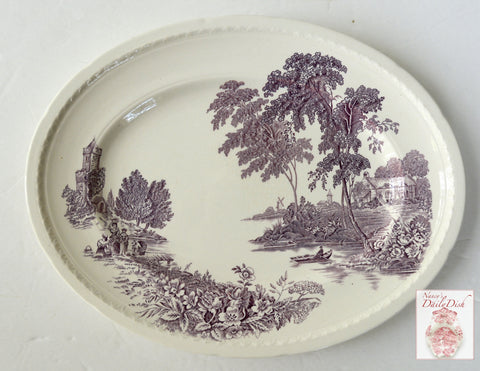 "Swinnertons ""The Ferry"" Purple English Transfer Ware Platter Scenic Ferry Roses Cottage"