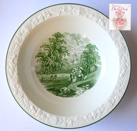 Green Toile Transferware Serving Bowl Embossed Floral Border George Jones Rhapsody