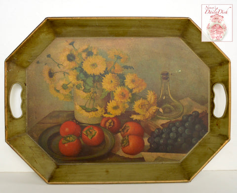 Vintage Sage Green Handled Tole Tray Hand Decorated Autumn Mums Tomatoes Grapes