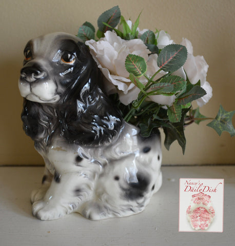 Vintage English Country Black & White Springer Spaniel  Dog Figurine Planter / Flower Pot