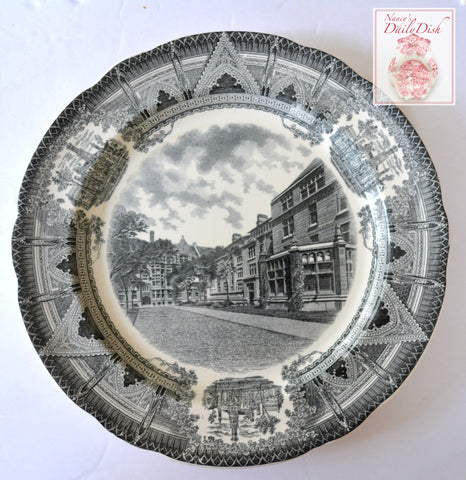 Spode Copeland Black Transferware Charger Plate Snell and Hitchcock Halls Stunning Neo Gothic Style Architectural Border Chicago University