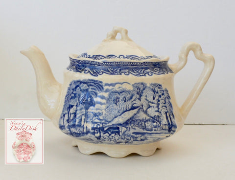 Vintage Blue Transferware TeaPot English Tea Pot Cows Farm Boy Feeding Chickens Pigs Rural Scenes