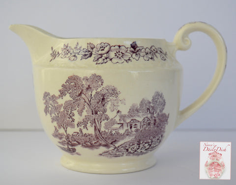 Vintage Lavender / Purple  English Transferware Creamer Pitcher Scenic Boat on River Roses Cottage