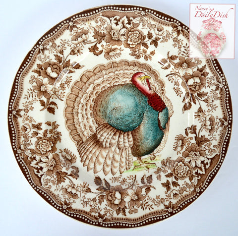 Polychrome Thanksgiving Turkey Brown Tonquin Transferware Plate Tonquin Clarice Cliff Roses Autumn Foliage Royal Staffordshire